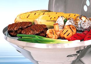 A10-004 / A10-014 - Barbacoa Marine Kettle® de Carbón - Alimentos