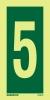 Se�al Numero 5 - Medidas 150mm x75mm Vinilo autoadhesivo Fotoluminiscente
