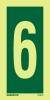 Se�al Numero 6 - Medidas 150mm x75mm Vinilo autoadhesivo Fotoluminiscente
