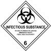 Etiqueta de Se�alizaci�n IMDG Clase 6.2: Infectious Substance - Etiqueta de se�alizaci�n para mercancias peligrosas. Material polipropileno Autoadhesivas de 300x300 mm para contenedores