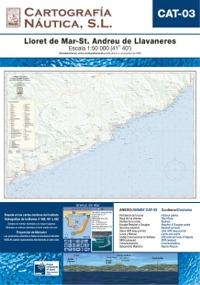 Carta Nautica CAT-03. Lloret de Mar - St. Andreu de Llavaneres - Basada en la carta náutica del Intituto Hidrográfico de la Marina no. 489, 491 y 492.   Escala: 1:50.000 (41º 40´).   Proyección de Mercator