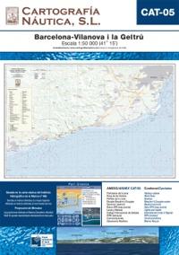 Carta Nautica CAT-05. Barcelona - Vilanova i la Geltru - Basada en la carta náutica del Intituto Hidrográfico de la Marina no. 488.   Escala: 1:50.000 (41º 15´).   Proyección de Mercator
