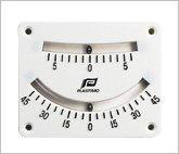 Clinómetro de doble lectura - Graduaciones de 0 º a 5 º y cada 5 º hasta 45 º.   Fijación 4 tornillos.   Dimensiones: 110 x 82 mm..   Ubicación interior o exterior
