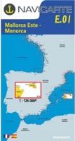 Carta Náutica Navicarte E01 - Mallorca Este - Menorca - E01 - Mallorca Este - Menorca.   Edición Francés / Español 2010.   Escala 1:125.000