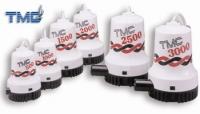Bombas electricas sumergibles TMC de 500 a 3000 GPH - ▶ Bombas compactas, totalmente sumergibles y resistentes a los choques..   ▶ Protegidas contra la corrosión, eje de acero inoxidable..   ▶ Resistentes a los detergentes..   Están disponibles en cinco tamaños de 500 a 3000 GPH.
