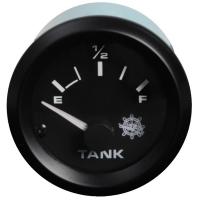 IndicadorNivelparaDepositos de Combustible 10-180 Ohm 12 V - indicador de nivel combustible, con indicación de la reserva..   Para depósitos de combustible.   Frecuencia: 10-180 ohm.   Voltaje: 12 V .   Diámetro: 52 mm.