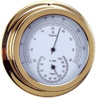 Termo-Higrometro. Esfera 120 mm - Caja de latón pulido..   Esfera 120 mm.   Base 150 mm.   Altura 45 mm