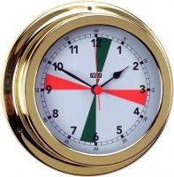 Reloj con Zonas de Silencio. Esfera 120 mm - Caja de latón pulido..   Esfera 120 mm.   Base 150 mm.   Altura 45 mm