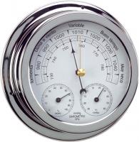 Barometro Termo-Higrometro Cromado. Esfera 120 mm - Caja de latón cromado..   Esfera 120 mm.   Base 150 mm.   Altura 45 mm