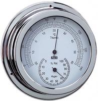Termo-Higrometro Cromado. Esfera 120 mm - Caja de latón cromado..   Esfera 120 mm.   Base 150 mm.   Altura 45 mm