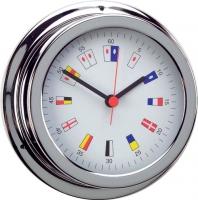 Reloj Cromado Numeros Nauticos. Esfera 120 mm - Caja de latón cromado..   Esfera 120 mm.   Base 150 mm.   Altura 45 mm