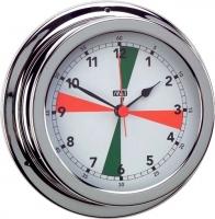 Reloj Cromado con Zonas de Silencio. Esfera 120 mm - Caja de latón cromado..   Esfera 120 mm.   Base 150 mm.   Altura 45 mm