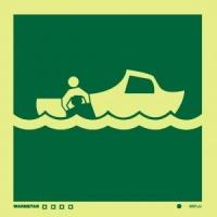 Señal Bote de Salvamento - Medidas 150mm x150mm.   Vinilo autoadhesivo.   Fotoluminiscente