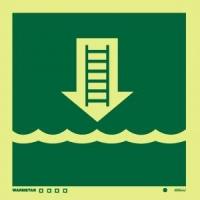 Señal Escalera de Embarque - Medidas 150mm x150mm.   Vinilo autoadhesivo.   Fotoluminiscente