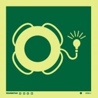 Señal Aro Salvavidas c/ Luz - Medidas 150mm x150mm.   Vinilo autoadhesivo.   Fotoluminiscente