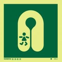 Señal Chaleco Salvavidas para Niños - Medidas 150mm x150mm.   Vinilo autoadhesivo.   Fotoluminiscente
