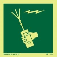 Señal Radio Portátil - Medidas 150mm x150mm.   Vinilo autoadhesivo.   Fotoluminiscente