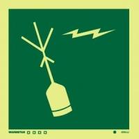 Señal Radio Baliza - Medidas 150mm x150mm.   Vinilo autoadhesivo.   Fotoluminiscente