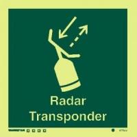 Señal Radar Transponder c/texto inglés - Medidas 150mm x150mm.   Vinilo autoadhesivo.   Fotoluminiscente