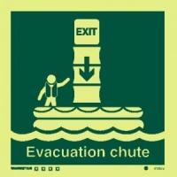 Señal rampa evacuación vertical c/texto inglés - Medidas 150mm x150mm.   Vinilo autoadhesivo.   Fotoluminiscente