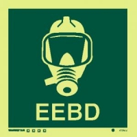 Señal Equipo de Escape c/texto inglés - Medidas 150mm x150mm.   Vinilo autoadhesivo.   Fotoluminiscente