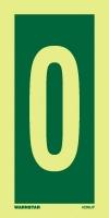 Señal Numero 0 - Medidas 150mm x75mm.   Vinilo autoadhesivo.   Fotoluminiscente
