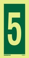 Señal Numero 5 - Medidas 150mm x75mm.   Vinilo autoadhesivo.   Fotoluminiscente