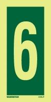 Señal Numero 6 - Medidas 150mm x75mm.   Vinilo autoadhesivo.   Fotoluminiscente