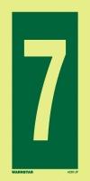 Señal Numero 7 - Medidas 150mm x75mm.   Vinilo autoadhesivo.   Fotoluminiscente