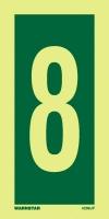 Señal Numero 8 - Medidas 150mm x75mm.   Vinilo autoadhesivo.   Fotoluminiscente