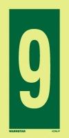 Señal Numero 9 - Medidas 150mm x75mm.   Vinilo autoadhesivo.   Fotoluminiscente