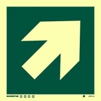 Señal Flecha diagonal - Medidas 150mm x150mm.   Vinilo autoadhesivo.   Fotoluminiscente