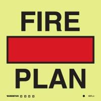 Señal Plan de Extinción de Incendios - Medidas 150mm x150mm.   Vinilo autoadhesivo.   Fotoluminiscente