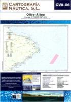 Carta Nautica CVA-06. Oliva - Altea - Basada en la carta náutica del Intituto Hidrográfico de la Marina no. 473 y 474.   Escala: 1:70.000 (38º 45´).   Proyección de Mercator