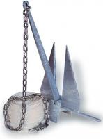 Kit de Fondeo completo para Embarcaciones hasta 7,5 mts. de eslora - Kit de Fondeo completo para Embarcaciones de 6,5 a 7,5 mts. de eslora y desplazamiento de 1000 a 2000 kg. compuesto de un ancla tipo Danforth, una cadena, dos grillete y el cabo adecuado.