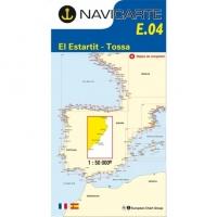 Carta Náutica Navicarte E04 - Costa Brava: El Estartit - Tossa - E04 - Costa Brava: El Estartit - Tossa.   Edición Francesa.   Escala 1:50.000