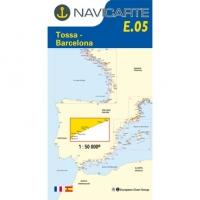 Carta Náutica Navicarte E05 - Costa Brava: Tossa - Barcelona - E05 - Costa Brava: Tossa - Barcelona.   Edición Francesa.   Escala 1:50.000