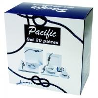 """Juego de vajilla """"Pacific"""", 20 Piezas - Una nueva gama de vajilla con diseño cuadrados y detalles de nudos marineros..   Conjunto de 20 piezas"""