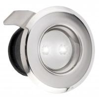 Luz de Cortesia 2 LEDs Blanco Frio 12V - Luz de Cortesía con 2 Leds blanco frio..   Cuerpo de acero inoxidable 316 pulido..   Totalmente estancas..   Dimensiones:.   Ø exterior: 40 mm.   Ø interior: 30 mm.   Profundidad: 25mm