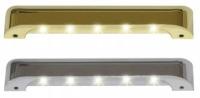 Luz de Cortesia IP67 con 5 LEDs, 12V Laton - Lámpara de cortesía para iluminación interior o exterior del barco / para escalera.   Dimensiones:.   Largo: 110 mm , Ancho: 13 mm, alto: 20 mm.   Voltaje: 12V.