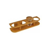 Soporte Bamboo para 4 vasos - Soporte para interior, compuesto de laminas pegadas y fabricado a partir de caña de bambú.
