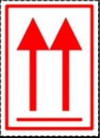 Etiqueta de Flechas orientación cargas - Etiqueta de señalización para mercancias peligrosas..   Autoadhesivas de 100 mm para cargas individuales.   Material Polipropileno