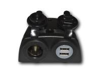 Panel para USB y encendedor con tapa - Panel para montar con doble USB, encendedor y tapa protectora..   Dimensiones: 91,8 x 83,2 mm