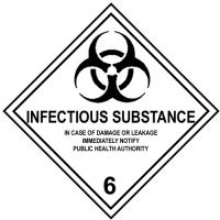 Etiqueta de Señalización IMDG Clase 6.2: Infectious Substance - Etiqueta de señalización para mercancias peligrosas..   Material vinilo Autoadhesivas de 300x300 mm para contenedores