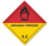 Etiqueta de Señalización IMDG Clase 5.2: Organic Peroxide - Etiqueta de señalización para mercancias peligrosas..   Material vinilo Autoadhesivas de 300x300 mm para contenedores..   Material autoadhesivas de 100x100 mm para cargas individuales