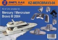 Kit Anodos Mercury-Mercruiser Bravo III 2004 - Kit de montaje completo para la cola MERCURY/MERCRUISER BRAVO 3 del 2004.   Material: Zinc.   Peso: 2,970 kg