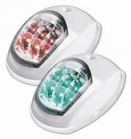 Juego de luces de navegacion con LEDS, para embarcaciones menores de 12 m. - Juego de luces de navegación con leds 12 voltios, babor y estribor. Homologadas para barcos de hasta 12 mts..   Cuerpo ABS blanco..   Grados: 112,5