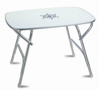 Mesa de abordo plegable 60 x 88 x 61 cm - Mesa de abordo rectangular plegable.   Con tablero de melamina blanca y estructura de aluminio anodizado..   Resistente a la intemperie.   Altura: 61 cm. Tablero: 60 x 88 cm.