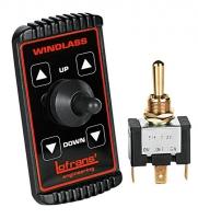 Interruptor para Molinetes Lofrans - Interruptor 3 posiciones tipo L..   Con placa, para instalar a distancia como mando de los molinetes..   Medidas: 85 x 50 mm.