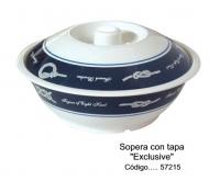 "Sopera con tapa ""Exclusive"" - Sopera con tapa fabricada en melamina para poder ser utilizada en el microondas sin ningún problema."